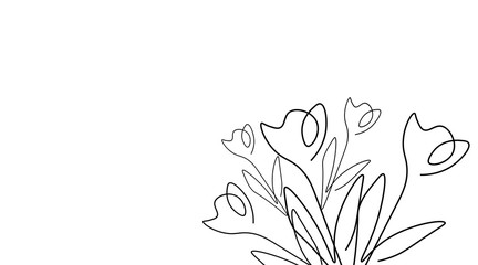Tulips background one lines drawing, vector illustration.