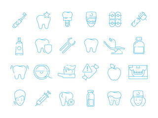 Stomatology icons. Dental teeth protection orthodontics mouth caries extraction vector healthcare thin line symbols. Dental and tooth, medicine stomatology icons illustration