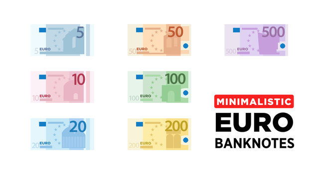 Euro money banknotes of Europe, flat and minimalistic paper money - vector one size