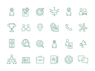 Job hunting. Professional workers top super manager personal employment vector thin icon collection. Illustration of hunting and recruitment candidate, hr organization icon set