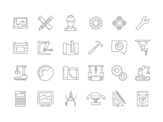 Engineering symbols. Manufacturing civil chip mechanical electrical tools vector thin line icon collection. Illustration of mechanical tool and engineering manufacturing