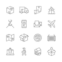 Delivering icons. Shipping logistics delivery sea freight free shipment moving items vector thin line symbols. Illustration of delivering and shipping processing, moving tracking