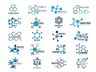 Molecular logotypes. Evolution concept formula chemistry genetic technology medical information node cell vector illustrations. Dna molecular, chemistry formula atom