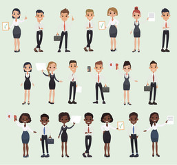 Girl man office documents briefcase tie formal wear suit business worker. Vector cartoon