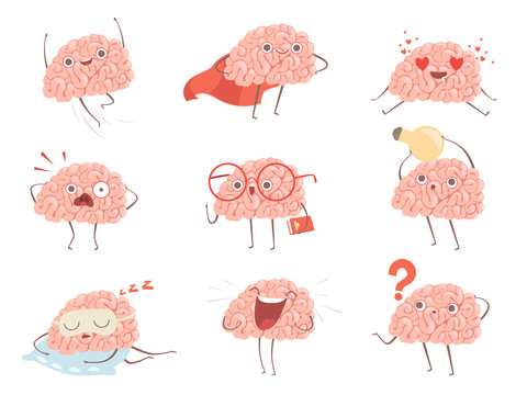 Brain characters. Cartoon mascot making different sport exercises brain activities vector pictures. Illustration of brain mascot, think and funny
