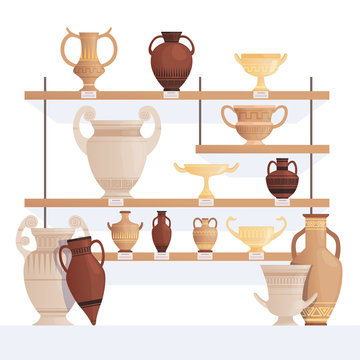 Old jug on shelves. Antique vessel in museum history clay cups and amphoras vector cartoon concept. Illustration of exhibition ancient amphora, pottery exposition
