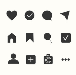 Social media interface set buttons, icons: home, camera, comment, search, photo camera, heart, like, user story. Vector illustration. Instagram Style. EPS 10