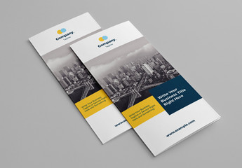 Trifold Business Brochure Layout with Yellow and Blue Accents