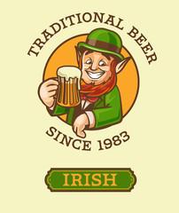 irish beer label with elf