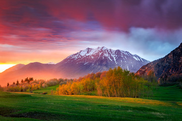 Spring sunset in the Wasatch Mountains, Utah, USA.