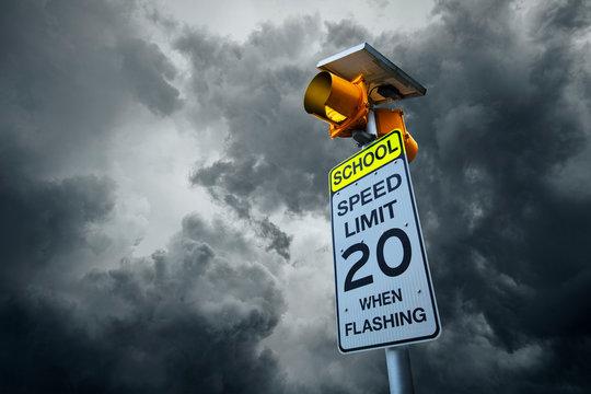 School speed limit road sign