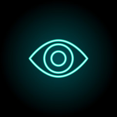 Red eye sign icon. Elements of Image in neon style icons. Simple icon for websites, web design, mobile app, info graphics