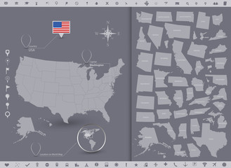 USA map and flag with regions