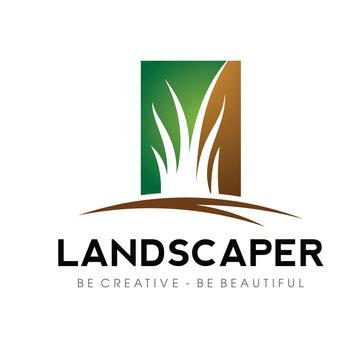 Grass, yard. lawn Logo Vector