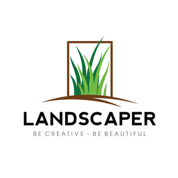 Grass, yard. lawn Logo Vector
