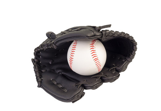 Baseball in a Glove on white background. (clipping path)