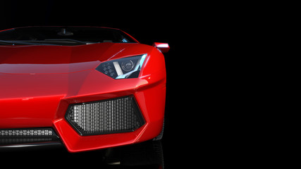 Red sports car, front end and headlights of a sport automobile, race car isolated on black background, 3D rendering
