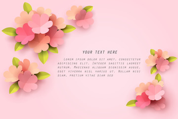 Paper art of pink flower template on pink background with copy space for text