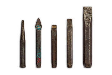 Old cold chisels and tapered punch
