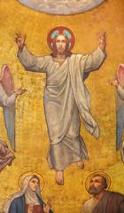 Fototapete - PRAGUE, CZECH REPUBLIC - OCTOBER 13, 2018: The fresco of Ascension of Jesus in side apse of church kostel Svatého Václava by S. G. Rudl (1900).