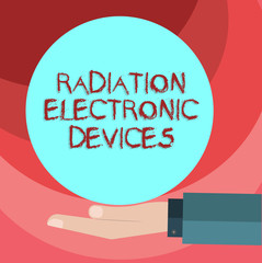 Text sign showing Radiation Electronic Devices. Conceptual photo radio frequency emitted by electronic devices Hu analysis Hand in Suit Offering Blank Solid Color Circle for Logo Posters