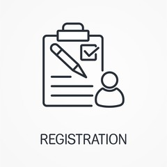 Client registration. Vector linear image.