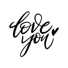 Love you hand drawn vector lettering. Phrase for Valentine's day.
