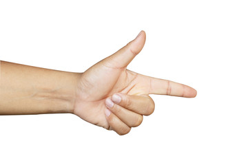 Men's hand pointing on white background, isolate, clipping path.