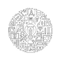 Graphic design concept in thin flat illustration. Creative process line icons in round shape isolated vector illustration. Round design element with graphic design icons - Vector