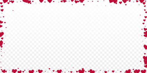 Red heart love confettis. Valentine's day frame wo