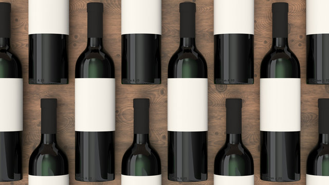 Pattern from bottles of red wine with blank labels