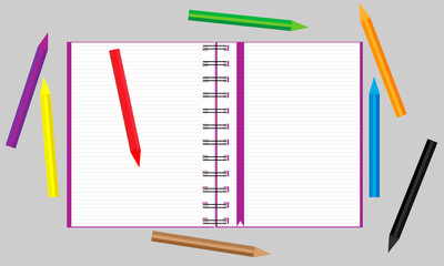 Open notebook with scattered colored pencils. Vector.