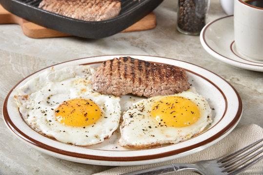 Homemade steak and eggs