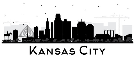 Fototapete - Kansas City Missouri Skyline Silhouette with Black Buildings Isolated on White.