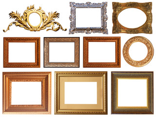 Gold interior elements of the picture frame isolated