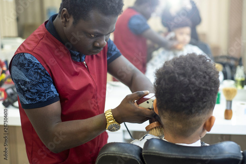 Cute African American Boy In The African Barbershop Cute Mixed Boy