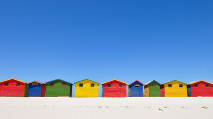 Clear blue Skies above the Muizenburg Beach Huts.