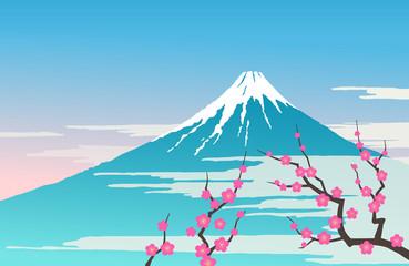 Mount Fuji and plum tree