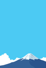 Mount Fuji and cloud postcard template