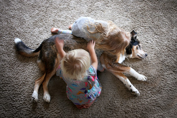 Two Little Kids HUgging and Petting their Pet Dog