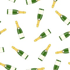Bottle alcohol champagne. Happy new year decoration. Merry christmas holiday. New year and xmas celebration. Seamless Repeat Pattern Background. Vector illustration flat style .