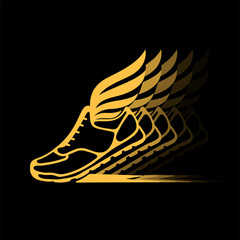 Abstract icon of sports shoes with wings in dynamics.