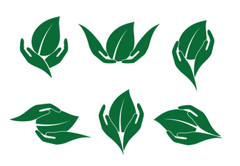 Hands holding a green leaf, icon set, eco product concept.