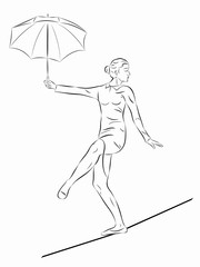 illustration of a  woman rope-walker, vector draw