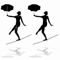 silhouette of a  woman rope-walker, vector draw