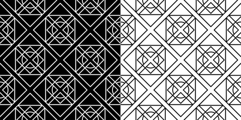 Black and white geometric seamless backgrounds. Compilation of patterns