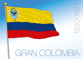 Gran Colombia historical flag, South America, 1820-1821, vector illustration