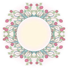 Decorative composition with red clover in bloom. Blank plate for text in the middle. St. Patrick's day festive design. EPS 10 vector illustration