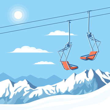 Chair ski lift for mountain skiers and snowboarders moves in the air on a rope on the background of winter snow capped mountains and the shining sun. Vector flat illustration.