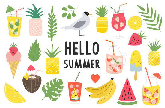 Big set of summer items. Summertime card. Pineapples, banana, watermelon, lemonade. Tropical leaves vector illustration. Isolated.
